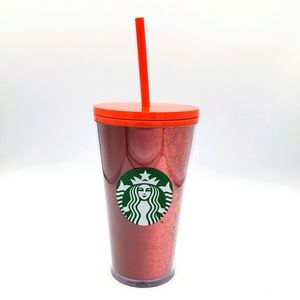 Starbucks holiday red glitter cold tumbler cup